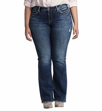 Silver Jeans Co. Women's Plus Size Suki Curvy Fit Mid Rise Slim Bootcut Jeans