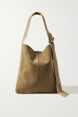 Isabel Marant Bakoo Canvas And Leather-trimmed Suede Shoulder Bag - Mushroom