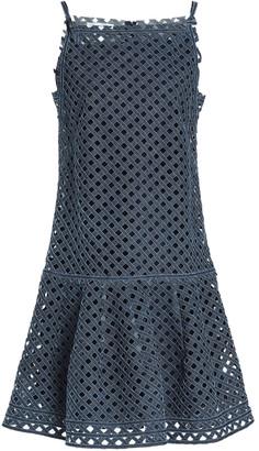 Oscar de la Renta Laser-cut Denim Dress