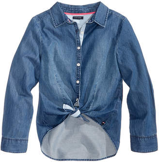 Tommy Hilfiger Toddler Girls Tie-Front Cotton Denim Shirt