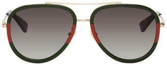 Gucci Green and Red Aviator Sunglasses