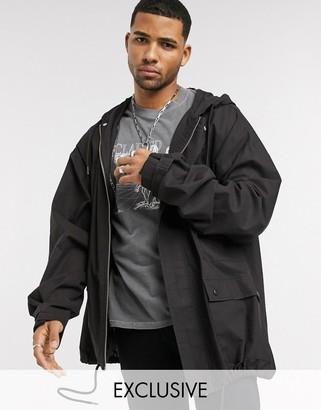Reclaimed Vintage oversized cotton parker jacket in black wash