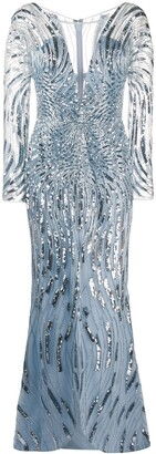 ZUHAIR MURAD V-neck sequin embellished dress