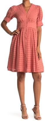 Taylor Embroidered Eyelet Shirt Dress
