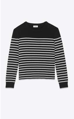 Saint Laurent High-Neck Sweater In A Sailor Knit