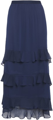 Charli Tiered Ruffled Crepon Midi Skirt