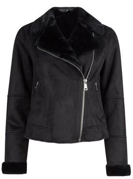Dorothy Perkins Womens Black Soft Shearling Biker Jacket, Black