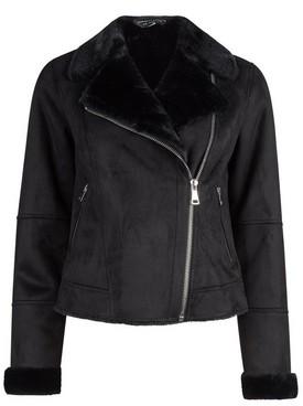 Dorothy Perkins Womens Black Soft Shearling Biker Jacket, Black