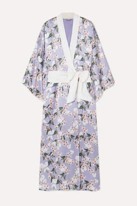 Olivia von Halle Maleficent Queenie Floral-print Silk-satin Robe - Lilac