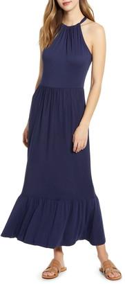 Caslon Halter Neck Ruffle Hem Maxi Dress