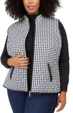 Karen Scott Plus Size Houndstooth-Print Puffer Vest, Created for Macy's