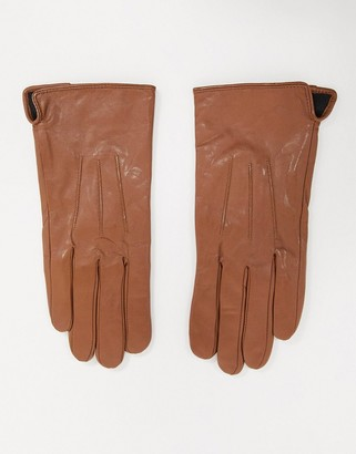 Barneys New York real leather gloves with touch screen compatibility in tan