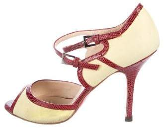 Christian Louboutin Karung-Trimmed Peep-Toe Sandals