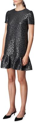 Carolina Herrera Metallic Jacquard Leopard-Print Shift Dress
