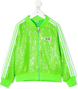 Gcds Kids Long Sleeve Sequin-Embellished Track Jacket