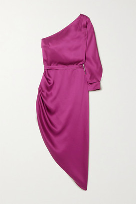 RALPH & RUSSO One-sleeve Draped Silk-satin Midi Dress - Plum