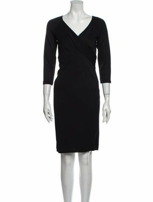 Donna Karan V-Neck Knee-Length Dress w/ Tags Black