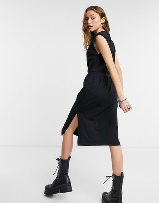 Object midi dress with padded shoulder in black