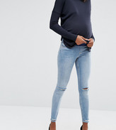 Asos Lisbon Skinny Jean in Shelby Light Stonewash with Shredded Knees and Chewed Hem With Under The Bump Waist