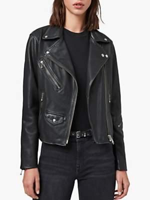 AllSaints Riley Leather Biker Jacket, Black/Grey