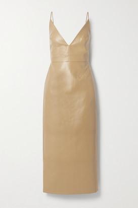 ALEKSANDRE AKHALKATSISHVILI Faux Leather Midi Dress