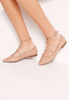 Missguided Studded Strap Flat Shoes Nude