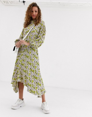 Ghost anais midi dress with balloon sleeve in crepe