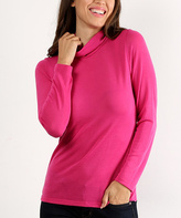Fuchsia Long-Sleeve Turtleneck Top