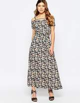 Liquorish Floral Maxi Dress with Back Strap Detail