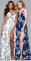 Faviana Floral Print Chiffon Lace Up Evening Dress