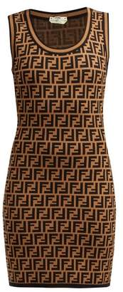 Fendi Ff-jacquard Knitted Mini Dress - Womens - Brown Multi