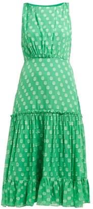 Saloni Daria Silk-georgette Dress - Womens - Green