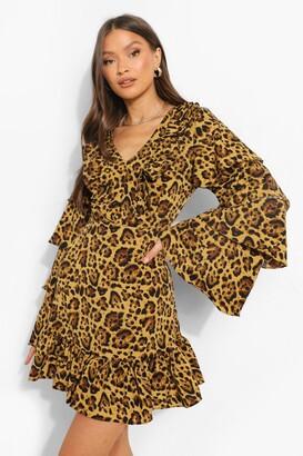 boohoo Leopard Print Ruffle Sleeve Skater Dress