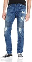 True Religion Men's Rocco Ripped and Worn Relaxed Skinny Moto Jean