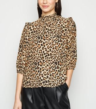 New Look Leopard Print Frill High Neck Top
