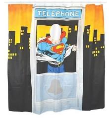 Karibu - Superman Telephone Booth Shower Curtain - Blue/Red/Orange