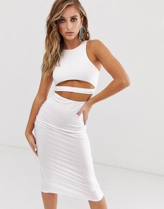 Asos Design DESIGN going out underboob bodycon midi dress-White