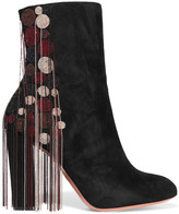 Chloé Liv Beaded Suede Ankle Boots - Black