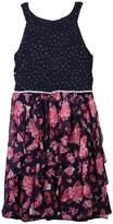 Speechless Girls 7-16 Sparkle Floral Corkscrew Skirt Dress