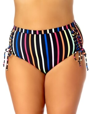California Waves Trendy Plus Size Striped Lace-Up Bikini Bottoms Women's Swimsuit