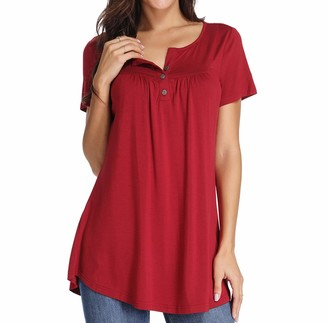 Xpenyo Women Henley Shirts Casual V Neck Blouse Button Up Tunic Tops Summer Tee Wine Red XL
