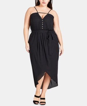 City Chic Trendy Plus Size Pintucked High-Low Dress