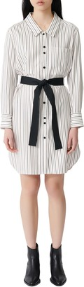 Maje Rayone Stripe Long Sleeve Shirtdress