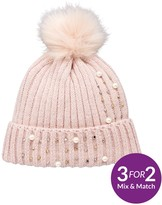 Very Pearl And Embellished Detail Beanie - Blush