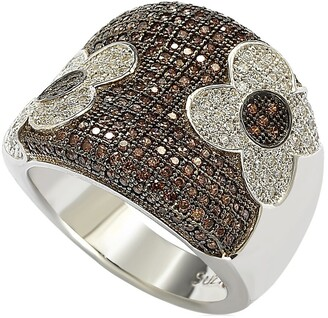 Suzy Levian Sterling Silver Floral Chocolate CZ Ring