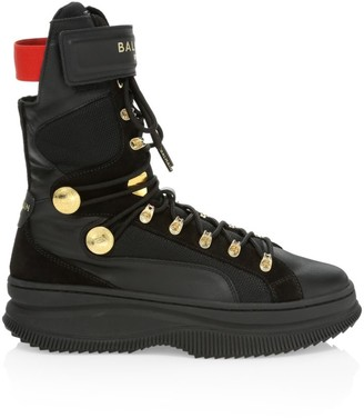 Women's Puma x Balmain Deva Lace-Up Leather Combat Boots