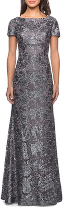 La Femme Short-Sleeve Metallic Lace Gown