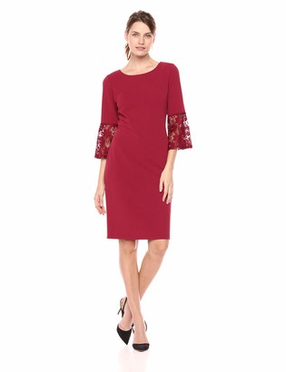 Sharagano Women's Dress with lace Sleeve