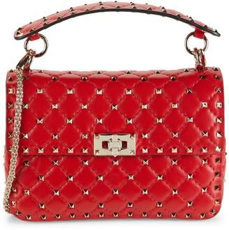 Valentino Garavani Quilted Rockstud Leather Top Handle Bag