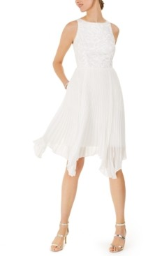 Adrianna Papell Pleated Short Cocktail Dress
